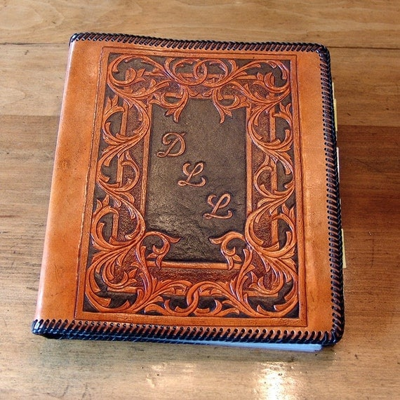Items Similar To Hand Tooled Leather 3-Ring Binder (8.5 X