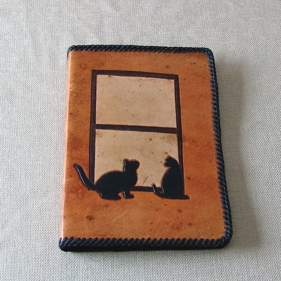 Hand Tooled Leather Notebook - Cats in the Window