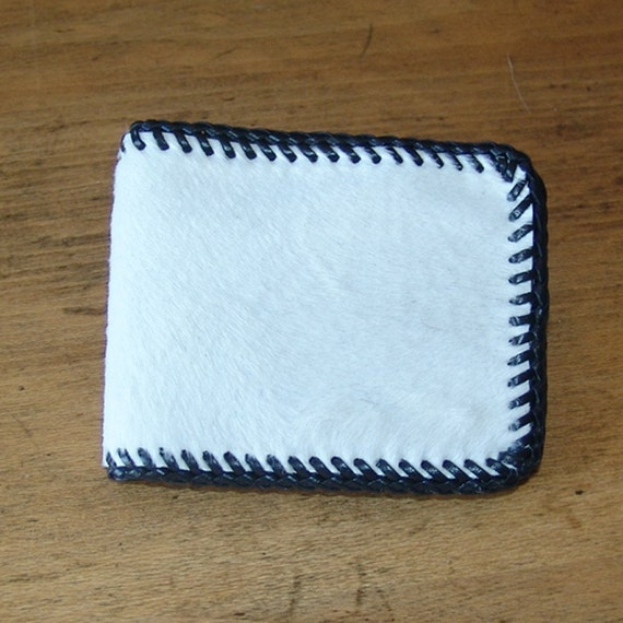 White Hair-On Calf Skin Mens Wallet \/ Billfold