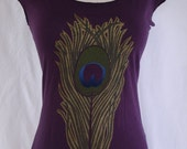 Eggplant Peacock Feather  Hand Silk Screened Metallic Overlay Sizes S M L XL FREE SHIPPING