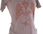 Baphomet Screenprint HEAVY METAL  Blood Red on Destroyed Black Sizes S M L XL women and mens