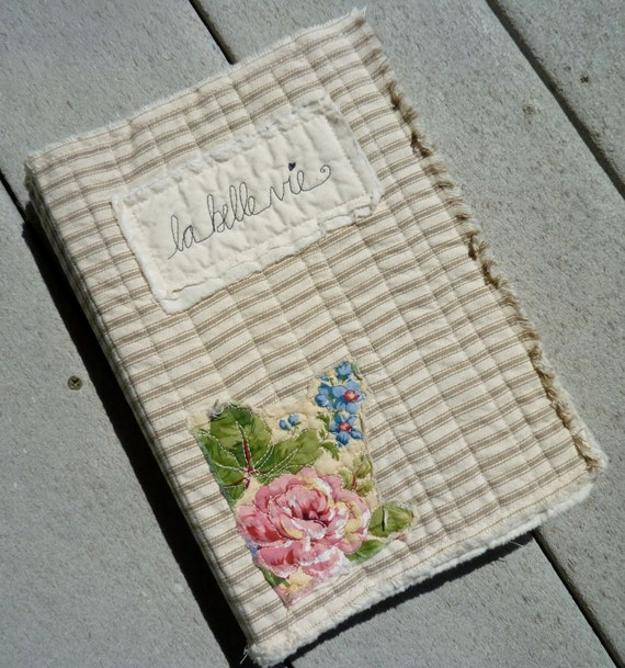 Fabric art Journal blank book Quilted French ticking and muslin cotton ragged edge album embellish altered fabric collage art textile quilt