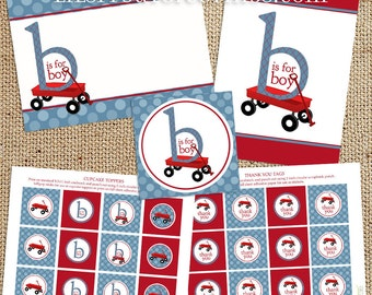 Red Wagon Baby Shower Printable Decorations - Instant Download