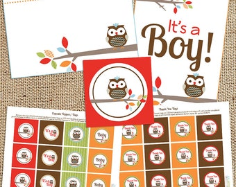 Treetop Friends Owl Baby Shower Printable Decorations - Instant Download - Owl Tags, Owl Toppers, Owl Signs, Owl Labels, Gender Neutral Owl