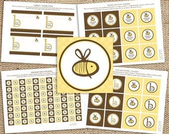 Gender Neutral Bee Baby Shower Printable Decorations - Instant Download