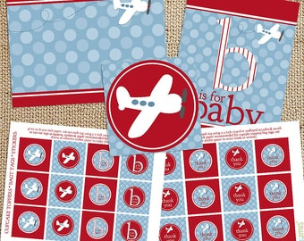 Airplane Baby Shower Printable Decorations - Instant Download