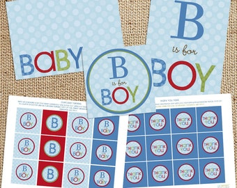 Printable Baby Boy Shower Decorations - Instant Download - Red Blue Green - B is for Baby Decor - Print Your Own - Tags toppers labels signs