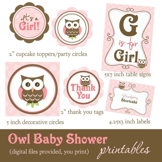 Owl Baby Shower Supplies: Owl Baby Shower Printable Supplies-reserved For Priscilla