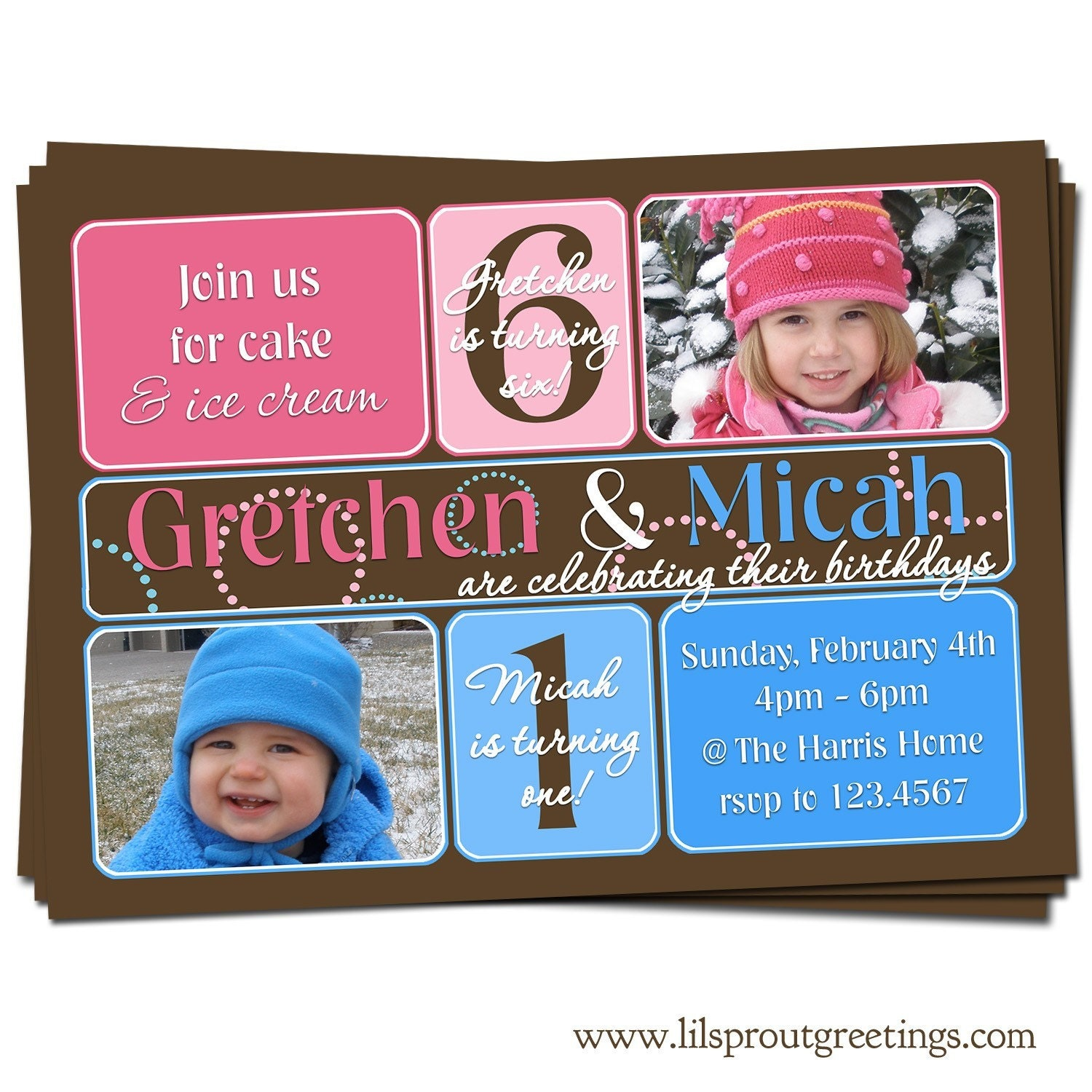Joint / Twin Birthday Party Photo Invitation Boy and Girl