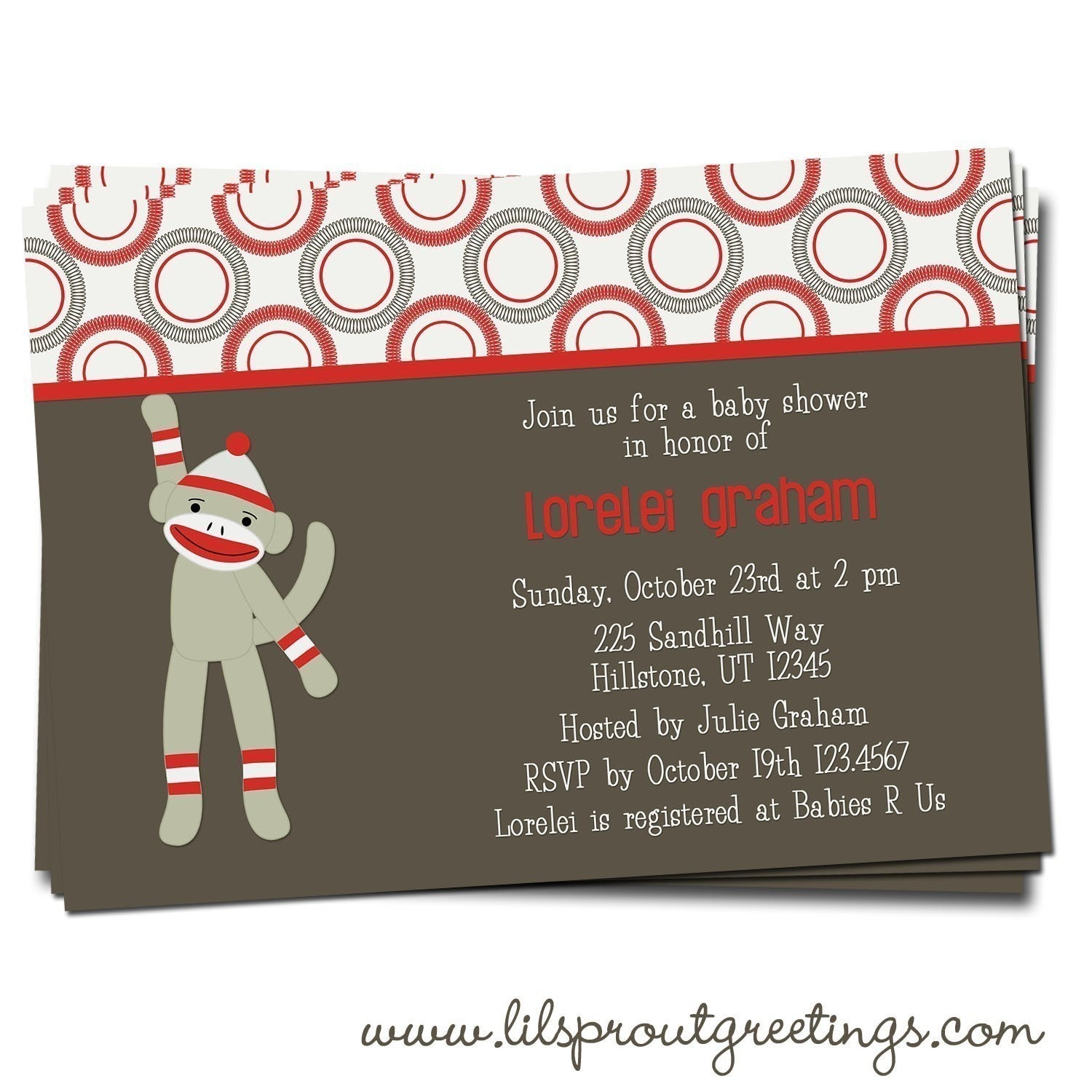 Sock Monkey Baby Shower Invitation By Lilsproutgreetings