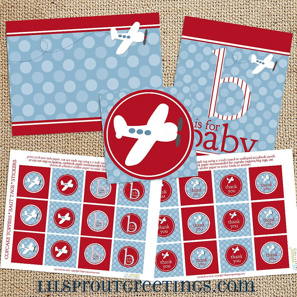 airplane baby shower printable decorations instant download