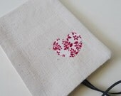 Handmade Mini Notebook Cover Holder Applique Heart on Linen Notepad included  by MyStudio on Etsy