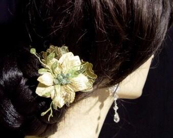 Sparkling Green Silk and Brocade Flower Hair Pin Clip Brooch Corsage