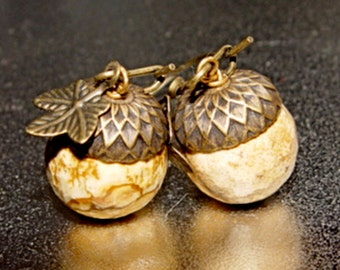 Picture Perfect - Picture Jasper Stone Brass Acorn Earrings