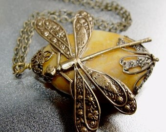 Rustic Dragonfly - Natural Stone Antique Brass Filigree Charm Chain Necklace