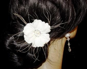 White Velvet Peacock Feather Crystal Gardenia Flower Wedding Bridal Hair Pin Clip Accessory