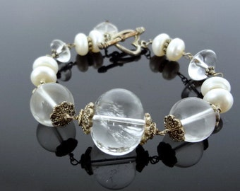 White Freshwater Pearl and Crystal Quartz Sterling Silver Bracelet