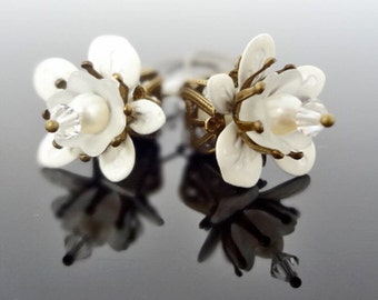 Vintage Apple Blossom - White Crystal and Pearl Flower Brass Earrings