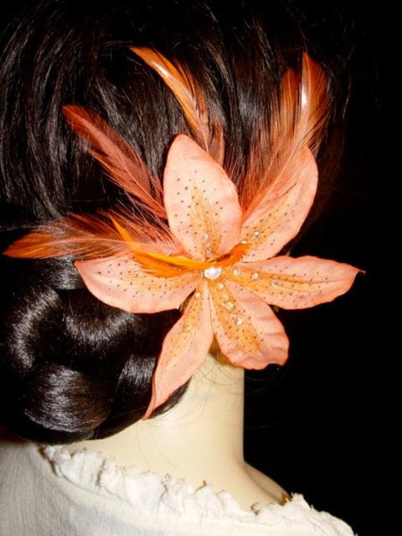 Coral Orange Silk Tiger Lily Swarovski Crystal Feather Hair Pin Flower Fascinator Clip
