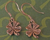 Irish Four Leaf Clover Charm Good Luck Earrings on Sterling Silver Earwires