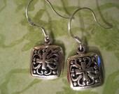 Irish Celtic Square Charm Sterling Silver Earwire Earrings
