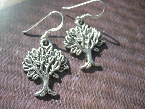 Silver Metal Tree Charm Dangle Earring on Sterling Silver French Style Earwires