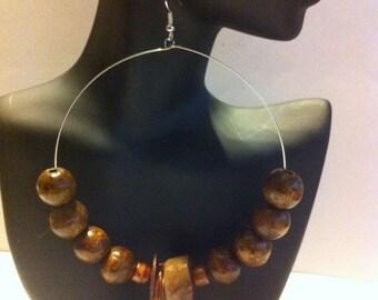 African Inspired Beaded hoop Earrings