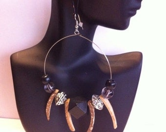 African Inspired Beaded hoop earrings