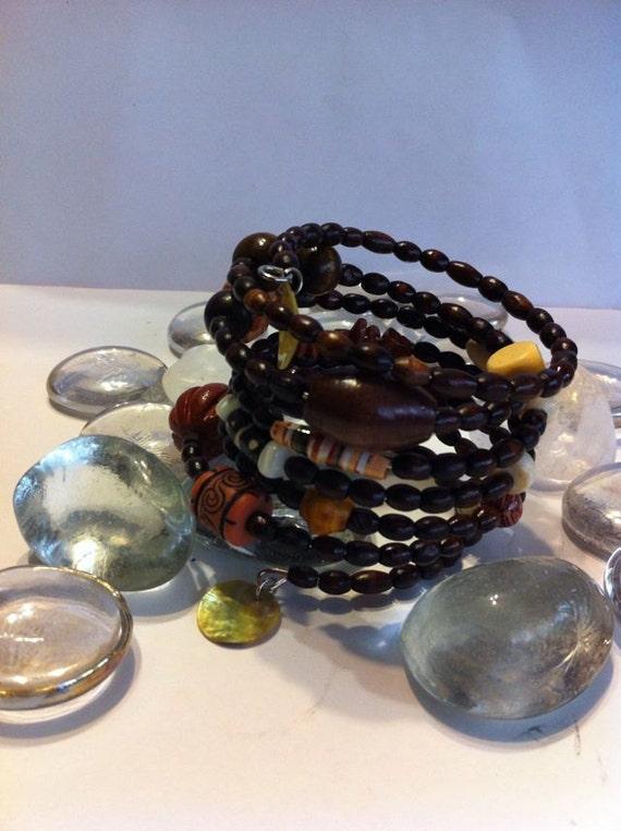 Tribal Beaded Wrap Bracelet.. Free Shipping