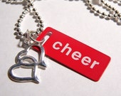 Love to Cheer ....Red and White Metal ID Tag Pendant with Silver Ball and Link Chain with Heart Drop..on Sale