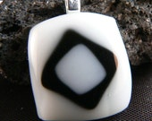 Black and White Fused Glass Pendant Free Steel Cable Necklace  Free Gift Tin