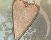 Giant Large Antique Silver Heart Pendant Blank Tray - MADE in THE USA - Silver Plated Pewter