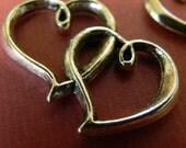 5-Large Double Hearts-  Antique Silver Pendants Charms