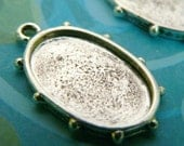 Black Friday Sale 10% off 10 Oval Pendant Blank Drop Settings -Antique Silver Plated - Cabochon Settings