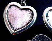 New- 5 Medium Heart Pendant Trays Bezel Blank Antique Silver Charms Large Metal -Ships within 24 hours