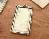Pendants- 10 Vertical Rectangle Extra Large Blank Pendant Trays Photo Frames -over 2 inches long - Antique Silver- round Bail