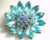 Large Ice Blue Crystal Rhinestone Brooch Pin Flower Vintage Estate Antique