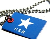 Blue USA Metal Dog Tag- Red White and Blue- Star
