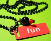 Little Fun Red and White Metal ID Tag Pendant with Black Ball  Chain.. on Sale save 3.00