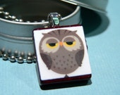 Hoot...Owl Print Deluxe Maroon Scrabble Tile Paper Pendant with Ball Chain Necklace and Storage Gift Tin