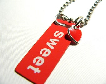 Sweet and  Heart ....Red and White Metal ID Tag Pendant with Silver Ball and Link Chain with Red Enameled Heart Drop