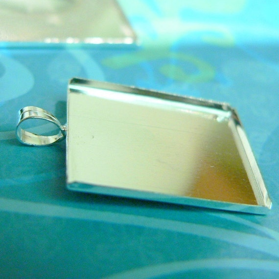 10 Square Pendant Blank Settings - Silver Plated - 1 inch - Cabochon Settings