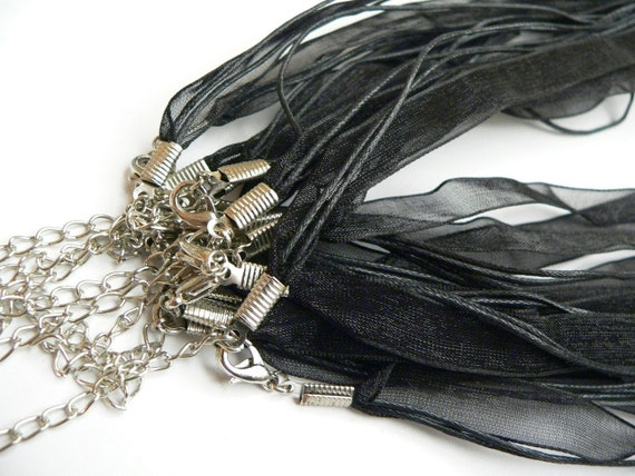 5 Handmade Black Silk Ribbon and Cotton Wax Cords Necklaces