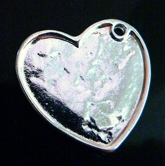 5 Large Heart Pendant Trays Bezel Blank  Silver Charms Large Metal -Ships within 24 hours