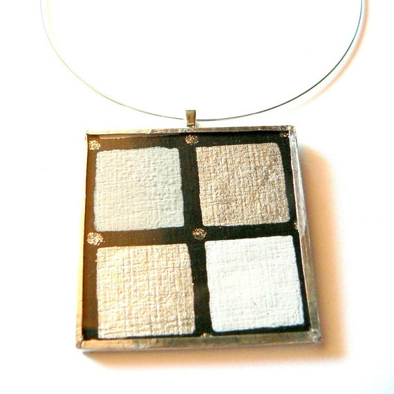 Hand Painted Black, Grey and Silver Shimmery Paper Glass Pendant