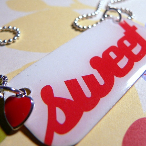 Sweet Heart Valentines- Red and White Epoxy Necklace