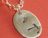 Bird and Butterfly Fine Silver Necklace