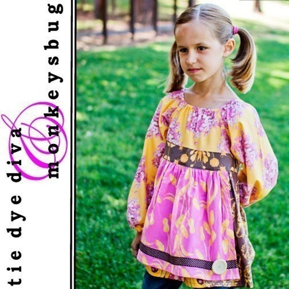 How to Sew a Peasant Top with Apron PDF Pattern and instructions for the Ashbury Top sizes 2-10