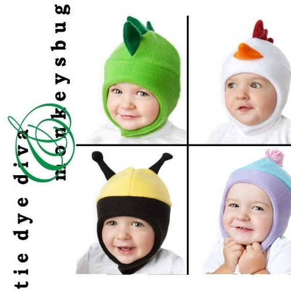HOW TO SEW FUN FLEECE ANIMAL HATS Vol. 2 - Bomber Style - Chicken Dinosaur Bee Ladybug Alien Plain PDF PATTERN