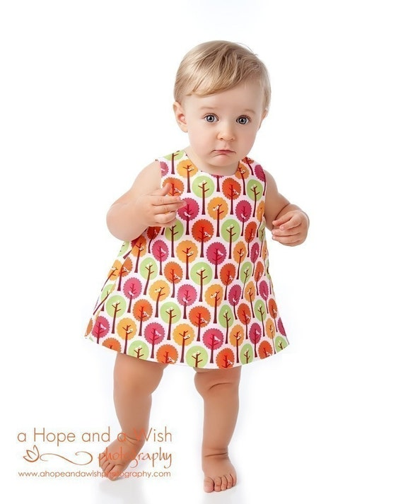 PDF Sewing Pattern - Easy Reversible Dress PDF Sewing Pattern - Downloadable PDF for Baby